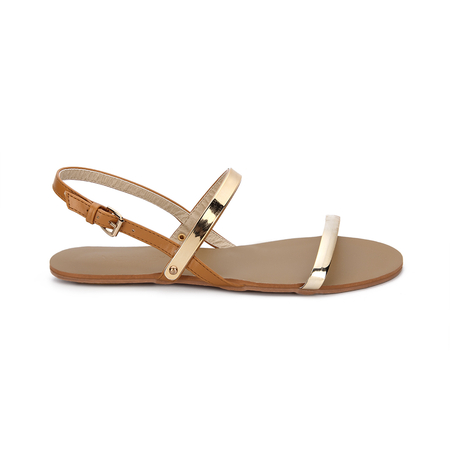 Brown Sling Back Flat Sandals With Golden Metallic Strap Over