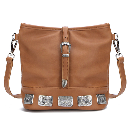 Carving Embellished Shoulder Bag in Brown