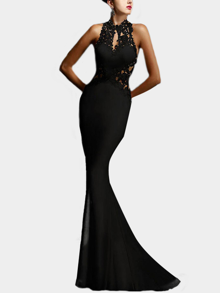 Black Sexy Backless Design Halter Sleeveless Fishtail Lace Insert Dress