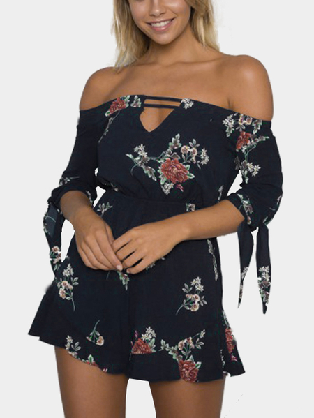 Navy Sexy Off Shoulder Random Floral Print Playsuit with Self-tie Design