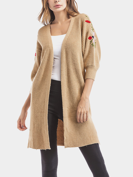 Khaki Embroidered Lantern Sleeves Cardigan