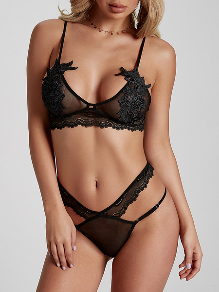 Black Lace-applique Lowcut V-neck Lingerie Set