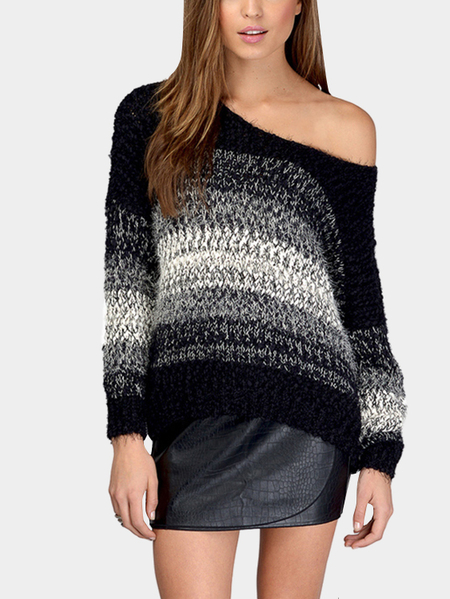 Contrast Color Round Neck Long Sleeves Jumper