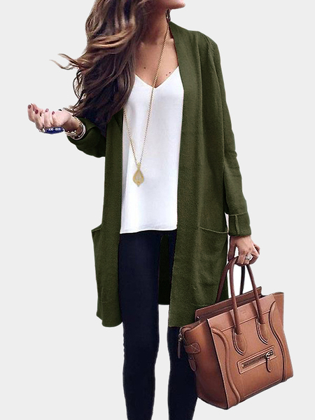 Army Green Side Pockets Open Front Knit Cardigan