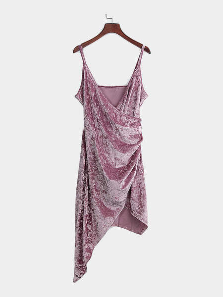 Pink Sexy V Neck Irregular Spaghetti Velvet Wrap Dress