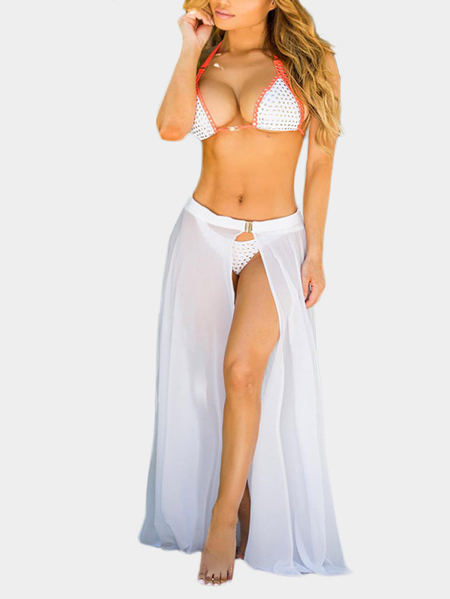 Boho High-rise Open Front Maxi Skirts in White