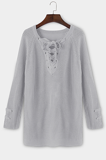 Grey Lace-up Front Long Raglan Sleeves Sweater Dress