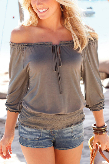 Dark Grey Off Shoulder Self-tie Top With Cut Out Design
