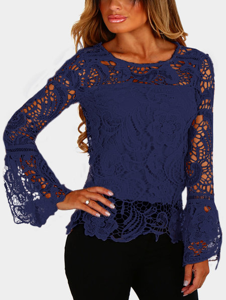 Navy See-through Lace Details Round Neck Long Sleeves Sexy Top
