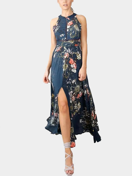 Random Floral Halter Backless Maxi Dress With Splited Detail