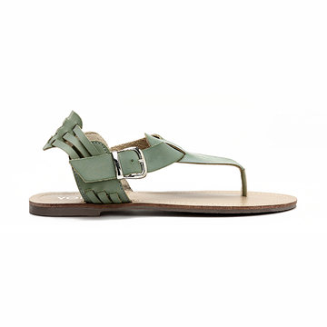 Buy Green Retro Leather Look Buckle Flat Thong Sandals