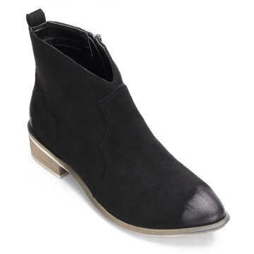 Black Suede Zipper Design Flat Ankle Boots