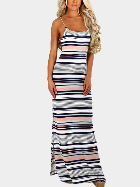 Navy & White Stripe Jersey Maxi Dress