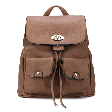 Two Front Pockets Backpack in Brown