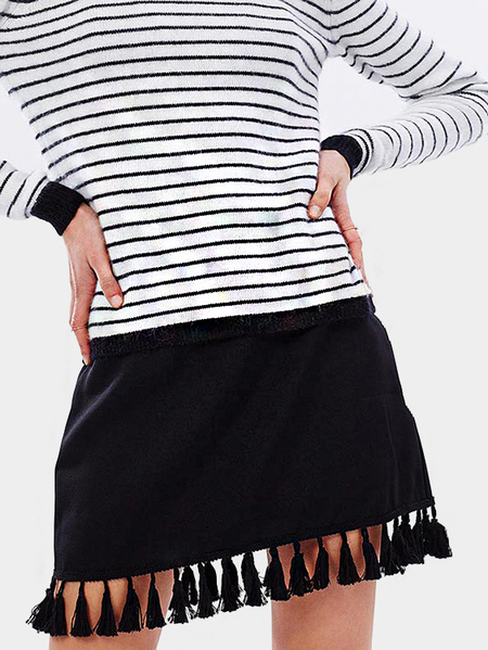 Black Zip Back Mini Skirt with Tassel Details