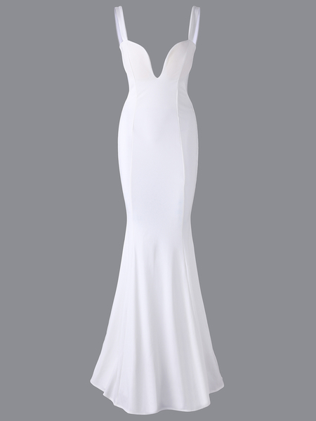 White Backless Long Length Bodycon Fishtail Deep V Neck Sleeveless Dress