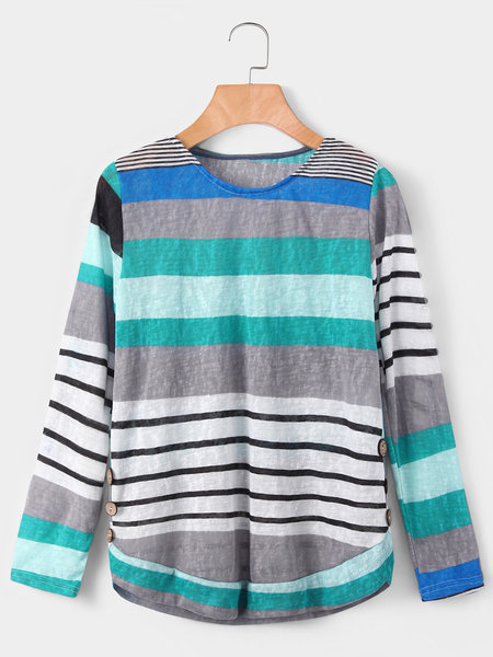 Green Stripe Round Neck Long Sleeves T-shirt