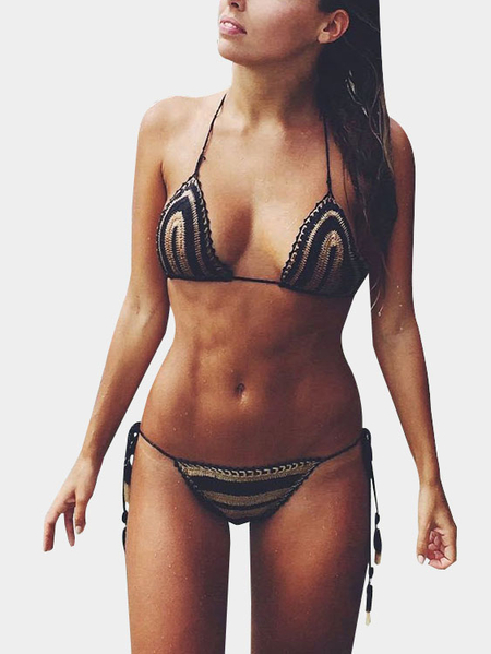 Stripe Beach Bandage Bikini Set With Crochet Trim