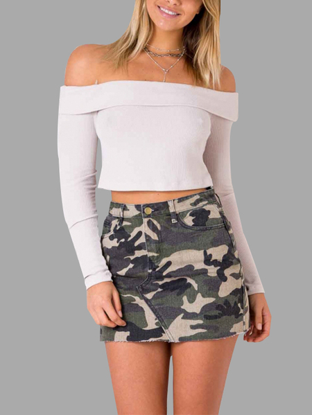 Army Print Camouflage Pattern Mini Skirts