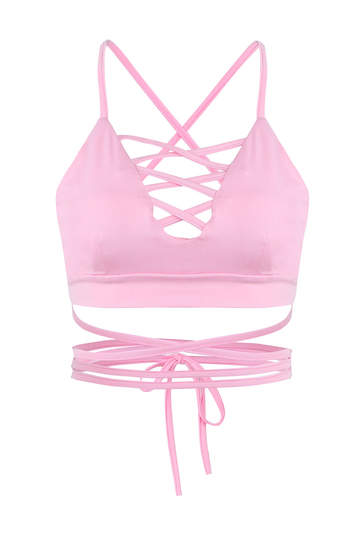 Pink Lace-up Crop Top with Self-tie Back
