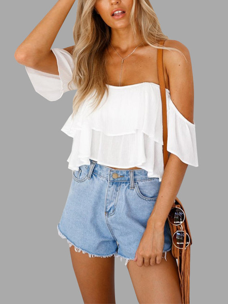 Bianco Sexy Off Spalla Backless Crop Top