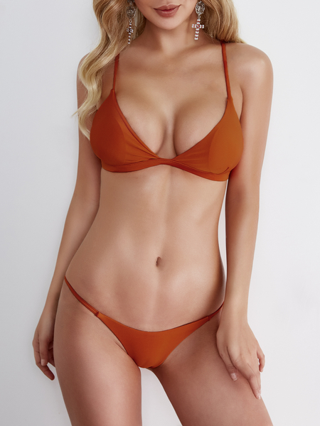 Orange Bodycon Low Cut V-neck Bikini Set