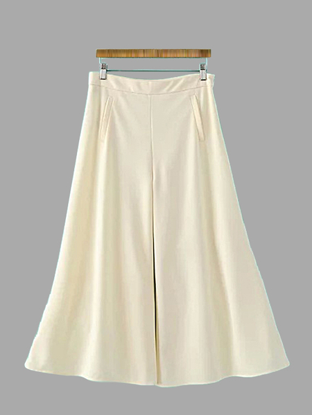 Khaki Pleated Chiffon Wide Leg Trousers with Pockets