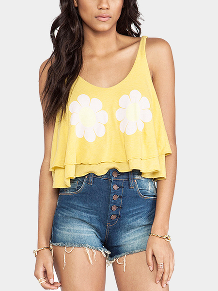 Round Neck Floral Print Pattern Crop Top