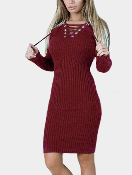 Burgundy Lace-up Design Long Sleeves Knee Length Dress