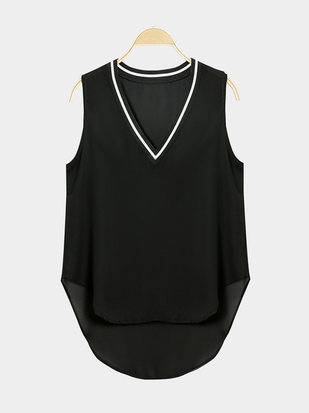 V-neck Sleeveless Chiffon Vest