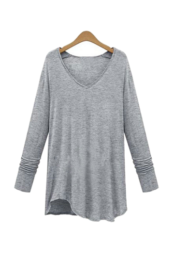Plus Size Grey V-neck Base Shirt
