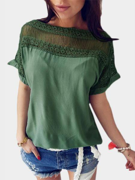 Green Cut Out Stitching Short Sleeves T-shirt