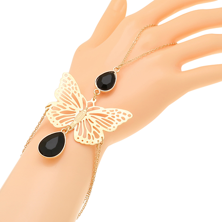 Black Jewels Butterfly Pattern Double Layered Bracelet