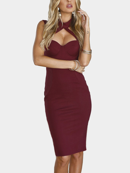 Burgundy Chest Padded Halter Knee Length Dress
