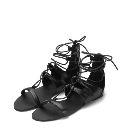 Black Wrap Around Ankle Strap Zip Closure Gladiator Flat Sandals