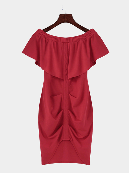 Red Off Shoulder Layered Split Bodycon Mini Dress