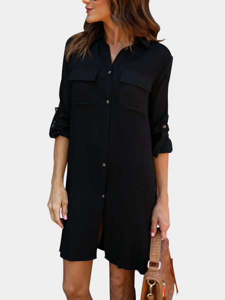 Black Casual Button-Down Shirt Dress