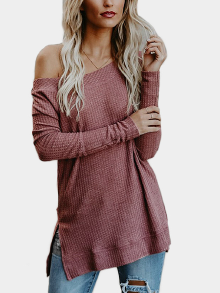 Rust Off Shoulder Long Sleeves Knitted Top