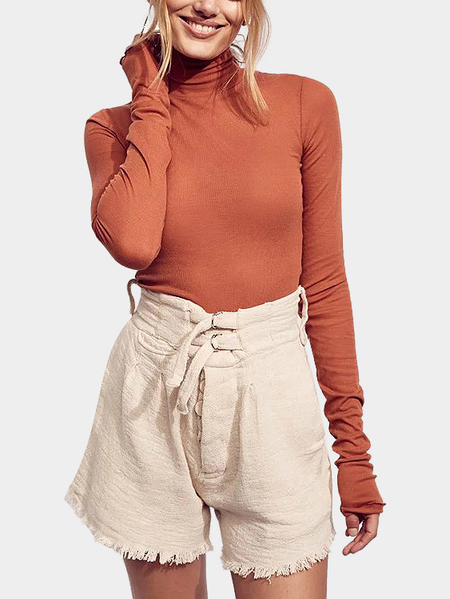Orange Knit Thread High Neck Bottoming Blouse