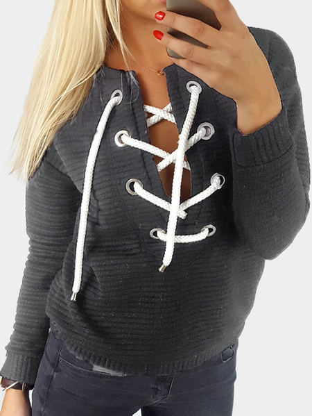Grey Rib Lace-up Long Sleeves Thicker Sweaters