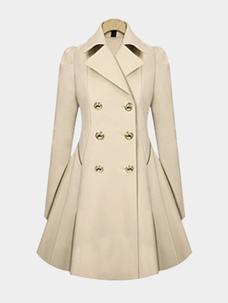 Bege Pleated Design Lapel Collar Ladies Coat