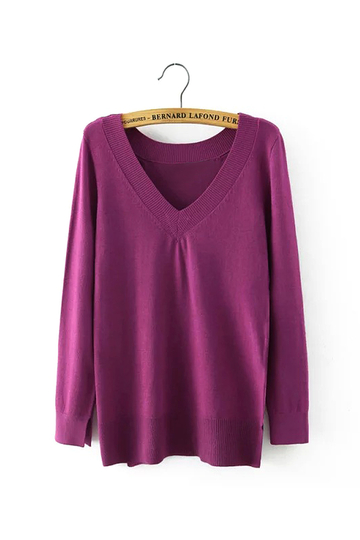 Purple V-backline Knitted Top