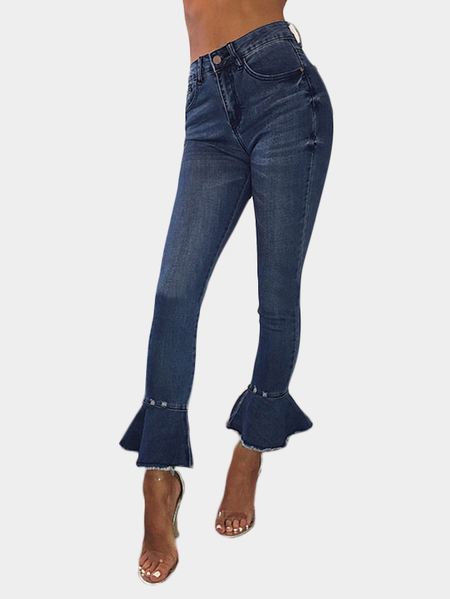 Blue High-rise Ruffle Design Bodycon Jeans