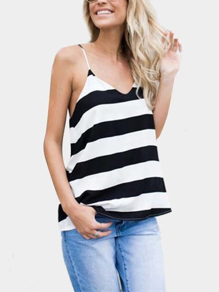 Black and White Stripe Pattern Sleevesless V-neck Vest