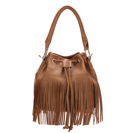 Brown Drawstring Leather Look Bucket Bag With Tassels