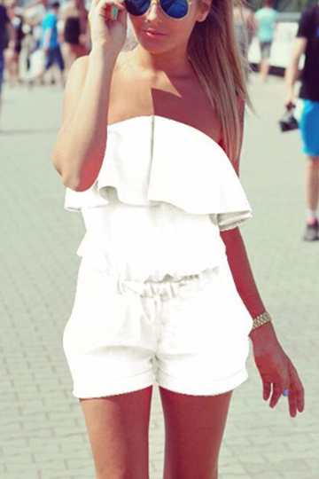 White Off The Shoulder Elastic Waist Playsuit