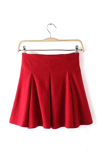 Red High-Waisted Pleated Mini Skirt