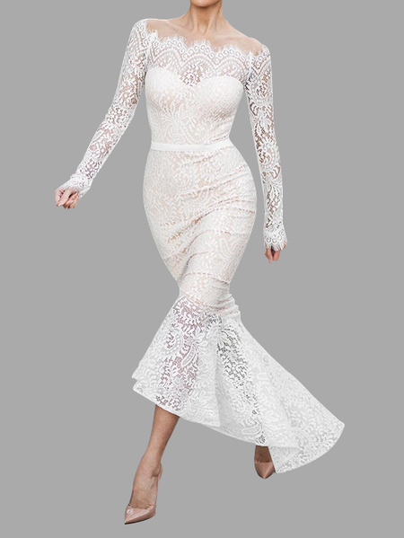 White Off-The-Shoulder Lace Fishtail Maxi Party Dress