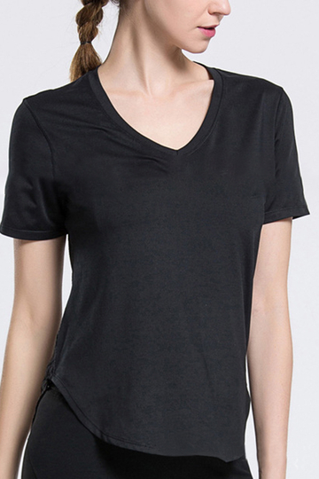 Black V-neck Hollow-out Design T-shirt
