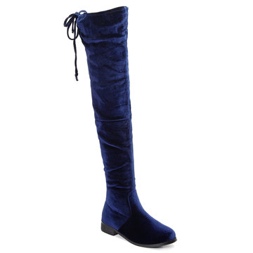 Blue Velvet Lace-up Design sobre o joelho Boots